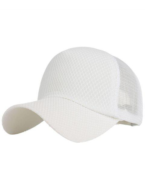 Outdoor Solid Color Mesh Sport Hat - WHITE