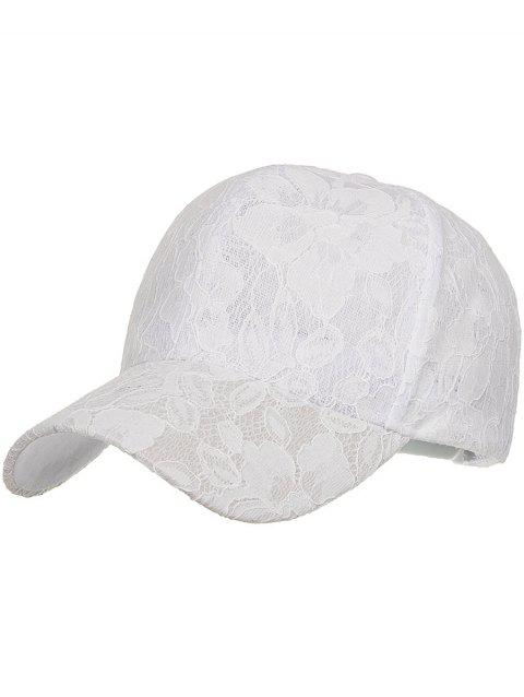 Outdoor Floral Lace Breathable Graphic Hat - WHITE