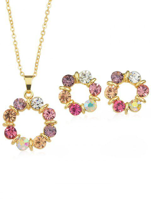Rhinestone Plated Chain Necklace with Stud Earrings - multicolor