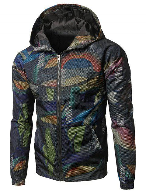 Mesh Camouflage Pattern Hooded Jacket - CAMOUFLAGE GREEN XL