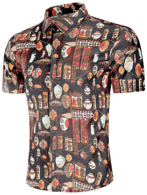 Chinoiserie Style Print Short Sleeve Shirt - multicolor S