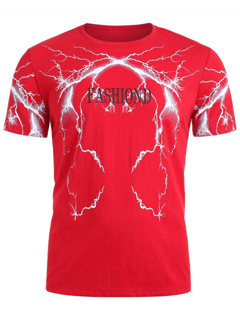 Lightning Flash Printed Letter T-shirt - FIRE ENGINE RED M