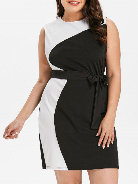 Plus Size Color Block Work Dress - BLACK L