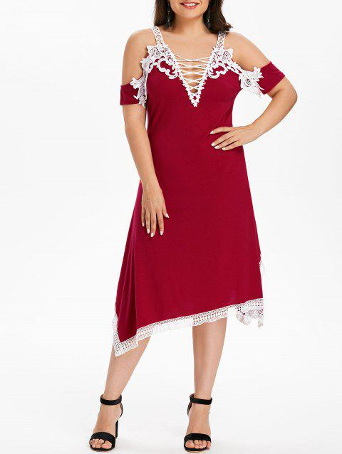 Plus Size Criss Cross Plunging Dress - RED 3X