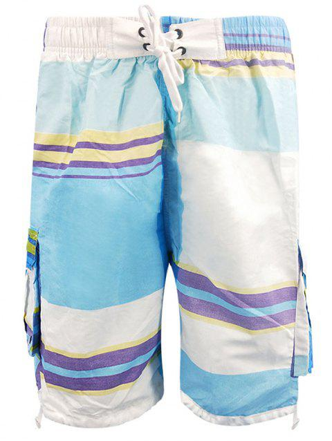 Stripe Pattern Elastic Waist Beach Shorts - DAY SKY BLUE M