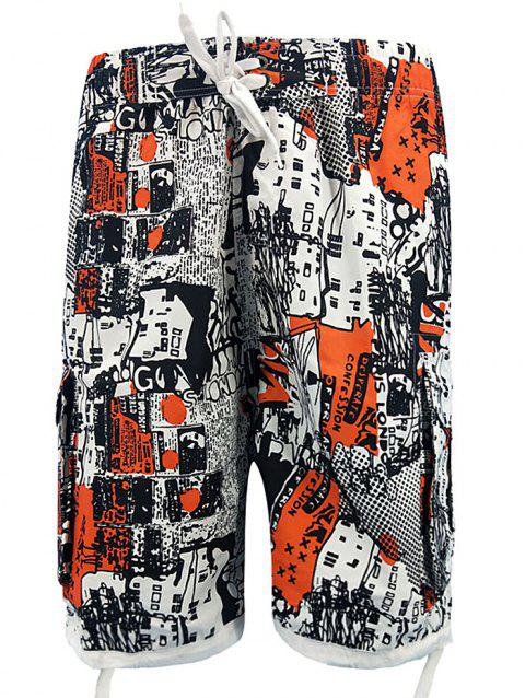 Vintage Print Pockets Beach Shorts - TANGERINE L