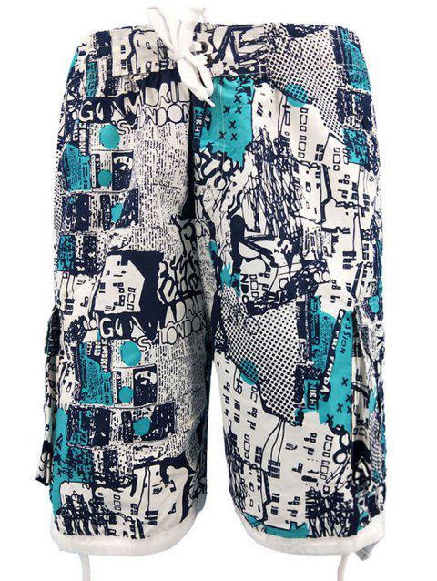 Vintage Print Pockets Beach Shorts - LIGHT SEA GREEN L