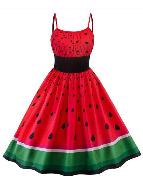 High Waisted Watermelon Print Swing Dress - RED 2XL