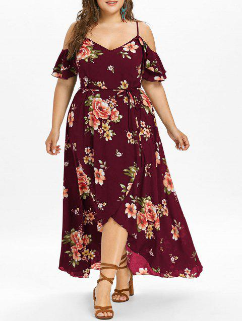 Plus Size Cold Shoulder Floral Maxi Flowing Dress - RED WINE L