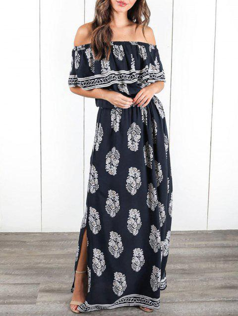 Ruffle Insert Off The Shoulder Maxi Dress - CADETBLUE M