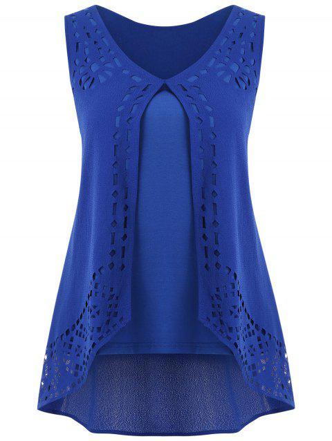 Hollow Out High Low Tank Top - BLUE S