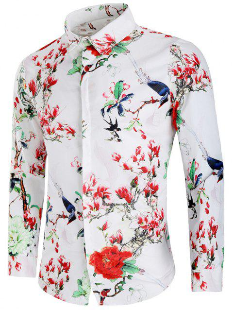 Flower and Birds Print Long Sleeve Shirt - WHITE M