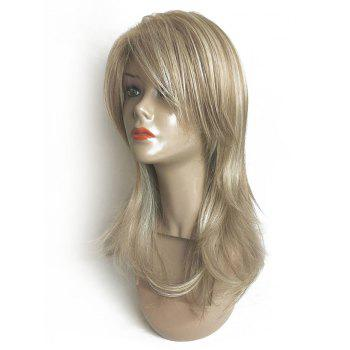 Long Side Fringe Natural Straight Colormix Synthetic Wig - multicolor