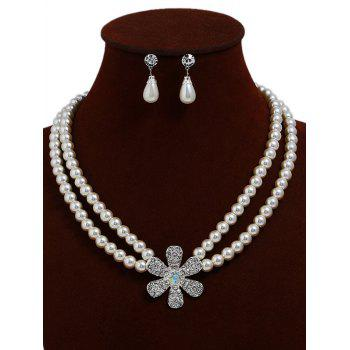 Rhinestone Floral Faux Pearl Beaded Necklace and Earrings - WHITE