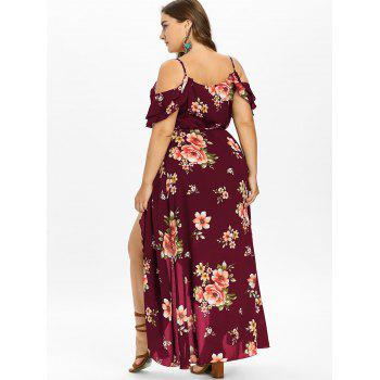 Plus Size Cold Shoulder Floral Maxi Flowing Dress - RED WINE 1X
