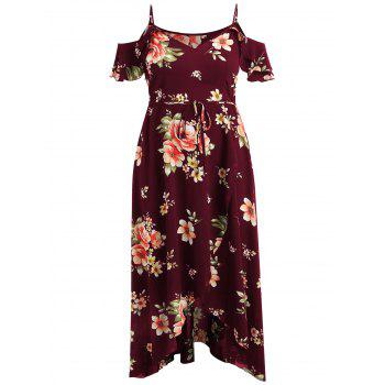 Plus Size Cold Shoulder Floral Maxi Flowing Dress - RED WINE 5X