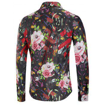 Paint Flower Print Long Sleeve Shirt - BLACK 2XL
