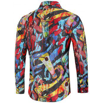 Long Sleeve Paint Drinks Print Shirt - BLACK L