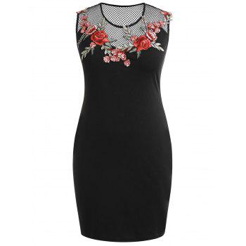 Plus Size Embroidery Sheer Sleeveless Dress - BLACK 4X