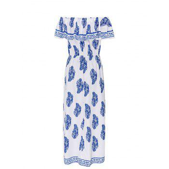Ruffle Insert Off The Shoulder Maxi Dress - BLUE L
