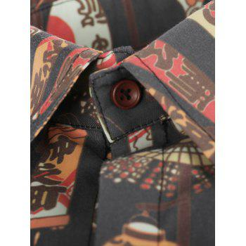 Chinoiserie Style Print Short Sleeve Shirt - multicolor M
