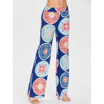 Bohemian Print Wide Leg Pants - COBALT BLUE XL