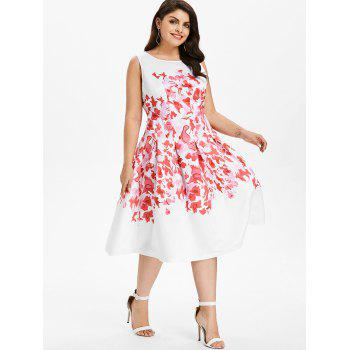 Plus Size Print Sleeveless Casual Dress - WHITE 3X
