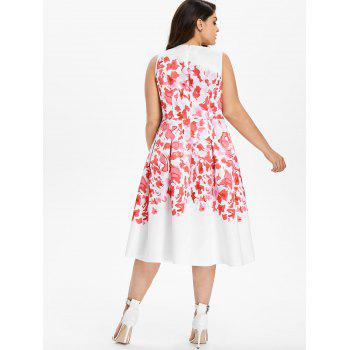 Plus Size Print Sleeveless Casual Dress - WHITE 4X