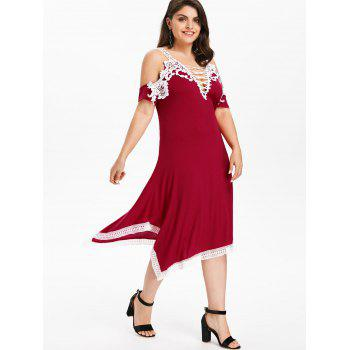 Plus Size Criss Cross Plunging Dress - RED L