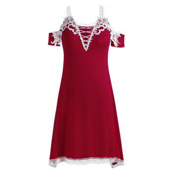 Plus Size Criss Cross Plunging Dress - RED 1X