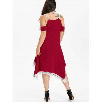Plus Size Criss Cross Plunging Dress - RED 2X