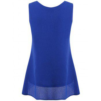 Hollow Out High Low Tank Top - BLUE XL