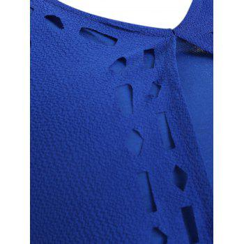 Hollow Out High Low Tank Top - BLUE L