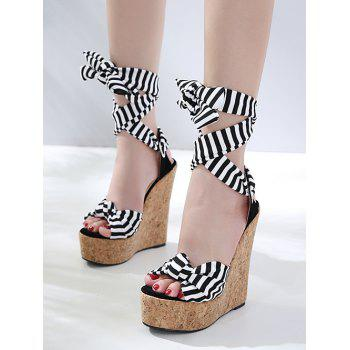 Wedge Heel Chic Striped Lace Up Sandals - WHITE 39