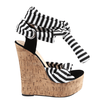 Wedge Heel Chic Striped Lace Up Sandals - WHITE 37