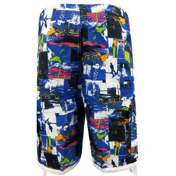 Figure Print Four-pocket Elastic Waist Board Shorts - BLUE ORCHID L