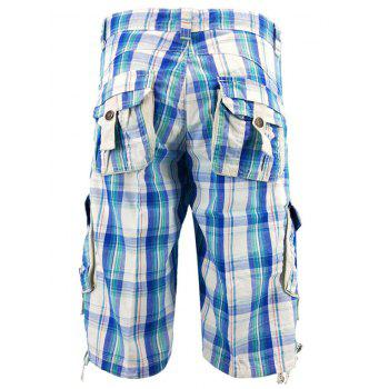 Drawstring Hem Multi-pocket Cargo Shorts - SKY BLUE 32