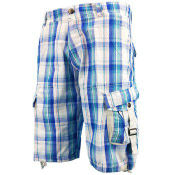 Drawstring Hem Multi-pocket Cargo Shorts - SKY BLUE 34