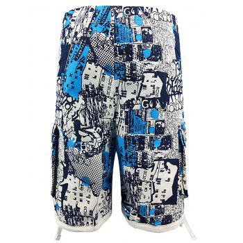 Vintage Print Pockets Beach Shorts - SKY BLUE M