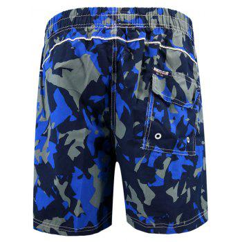 Camo Print  Elastic Waist Beach Shorts - ROYAL BLUE XL