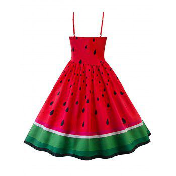High Waisted Watermelon Print Swing Dress - RED M