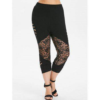 Plus Size Ladder Up Lace Cropped Leggings - BLACK 2X