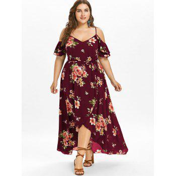 Plus Size Cold Shoulder Floral Maxi Flowing Dress - RED WINE 2X