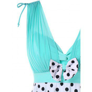 One Piece Polka Dot Empire Waist Swimwear - MACAW BLUE GREEN XL