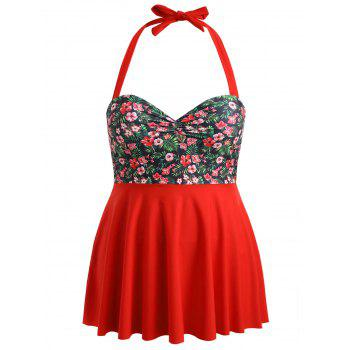 Plus Size Floral Underwire Tankini Set - FIRE ENGINE RED 1X