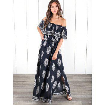 Ruffle Insert Off The Shoulder Maxi Dress - CADETBLUE L