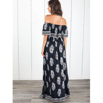 Ruffle Insert Off The Shoulder Maxi Dress - CADETBLUE XL