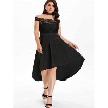 Plus Size Off Shoulder Lace Maxi Dress - BLACK 1X