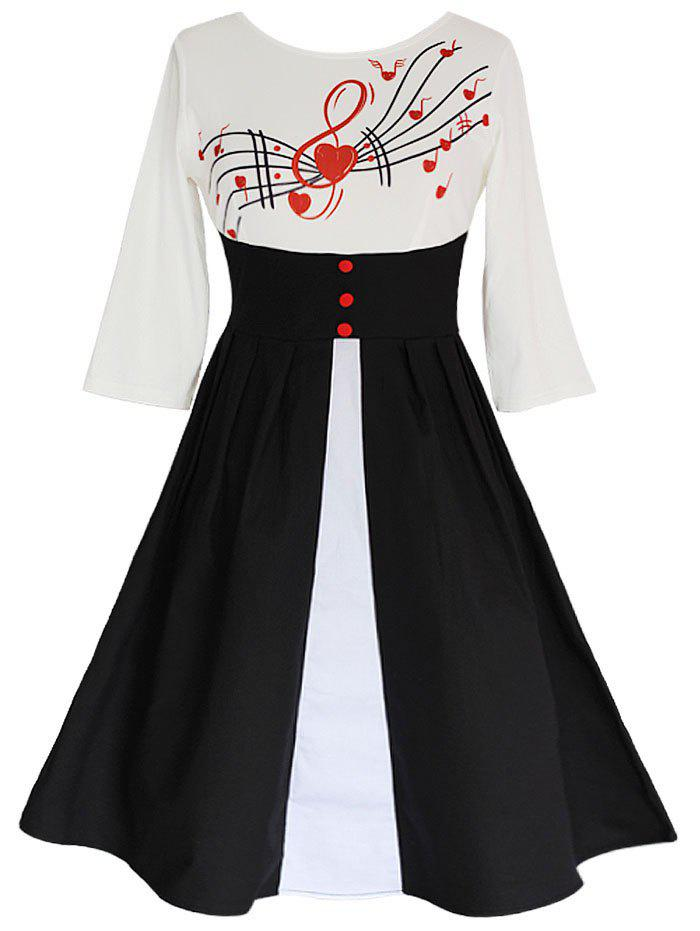 Music Notes Button Insert Swing Dress music note party swing dress