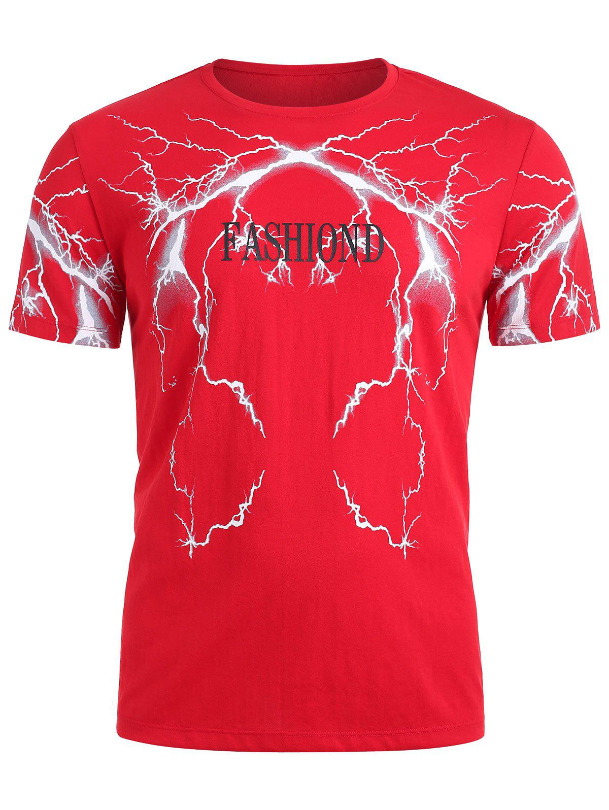 Lightning Flash Printed Letter T-shirt - FIRE ENGINE RED XS
